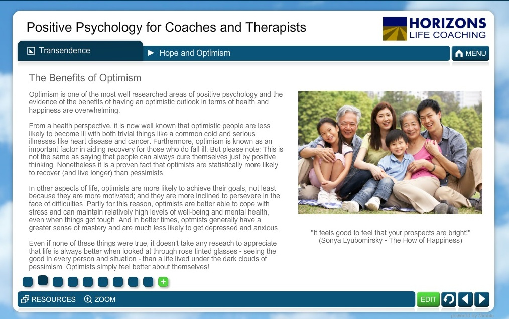 Positive Psychology for Coaches and Therapists Course