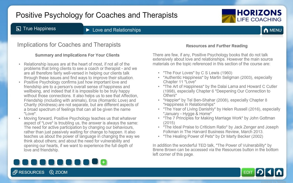 Positive Psychology Course - Implications for Coaches